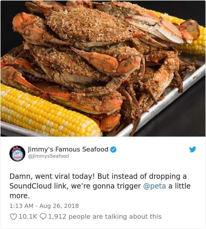 jimmy's famous seafood wanting to trigger peta with seafood pics