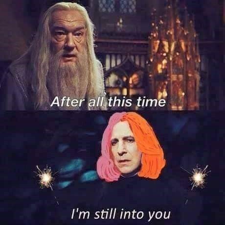 """Harry Potter scene merged with Paramore's """"Still Into You"""" with pic of Snape with Hayley Williams' two toned hair"""