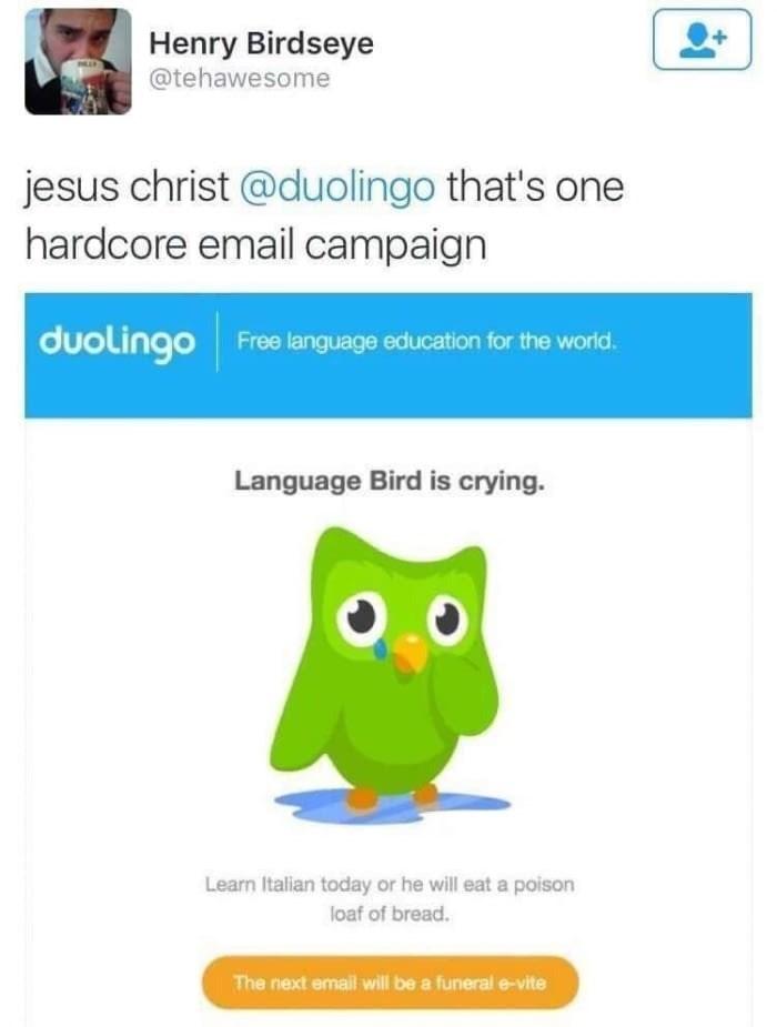 Tweet about the Duolingo owl using emotional manipulation