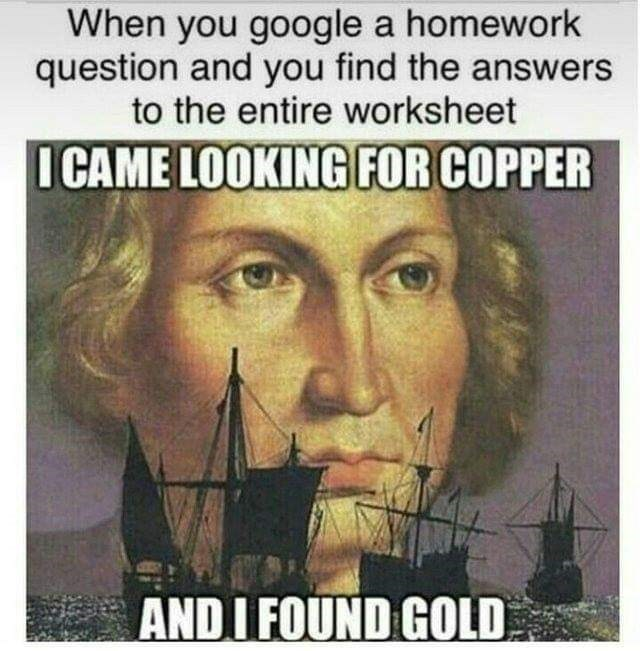 Meme about finding answers to your homework online with drawing of Colombus' face behind sailing ships