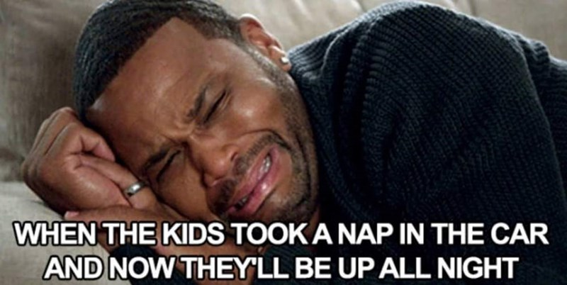 """meme about realizing the kids will be up at night with pic of Dre from """"Blackish"""" weeping in bed"""