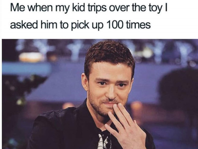 meme about your child tripping over a toy with pic of Justin Timberlake holding back a laugh