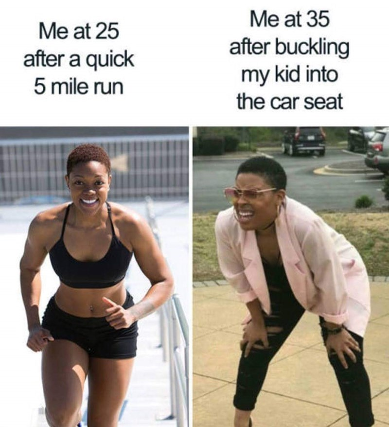 meme about being out of shape as a parent with before pic of fitness model running and after pic of the Squinting Woman
