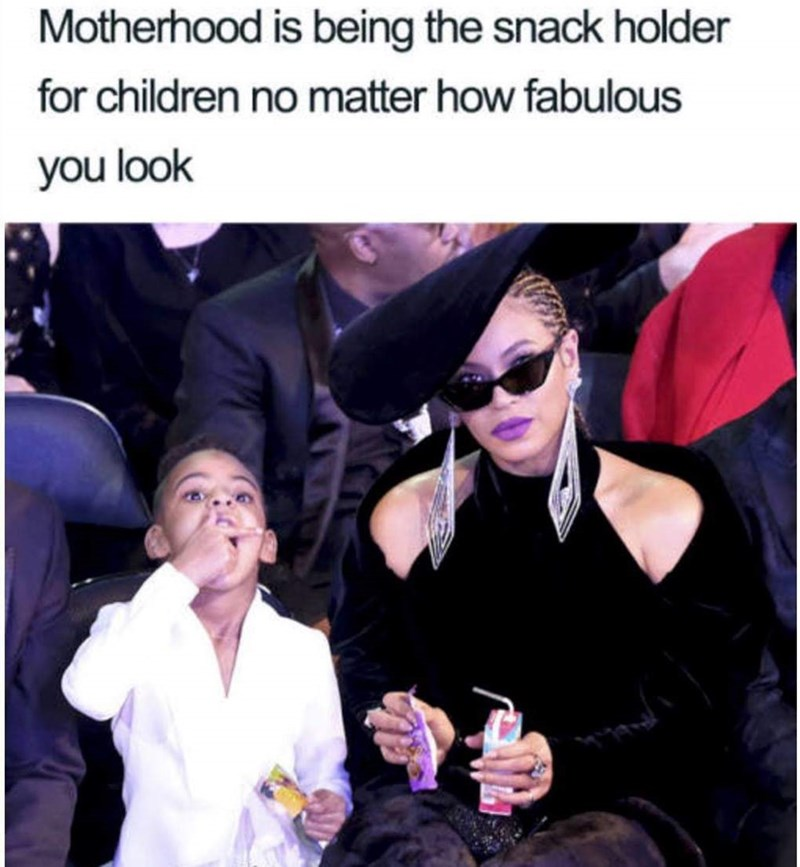meme about always carrying snacks for your kids with pic of Beyonce holding her daughter's food at an event