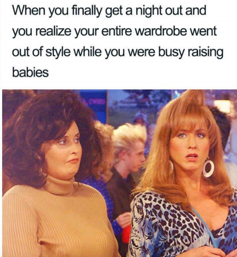 """meme about parents not paying attention to fashion with pic of Monica and Rachel during the """"Friends"""" 80s episode"""
