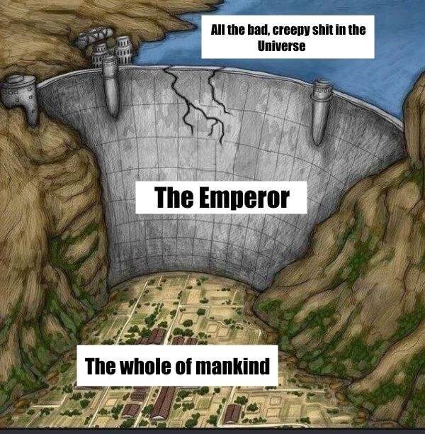 Meme about The Emperor protecting mankind in Warhammer 40k represented by a dam over a city