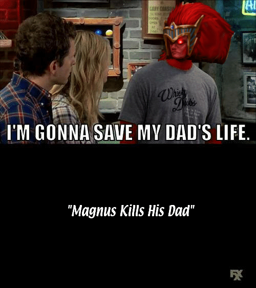 Always Sunny meme about Magnus from Warhammer 40k killing his dad