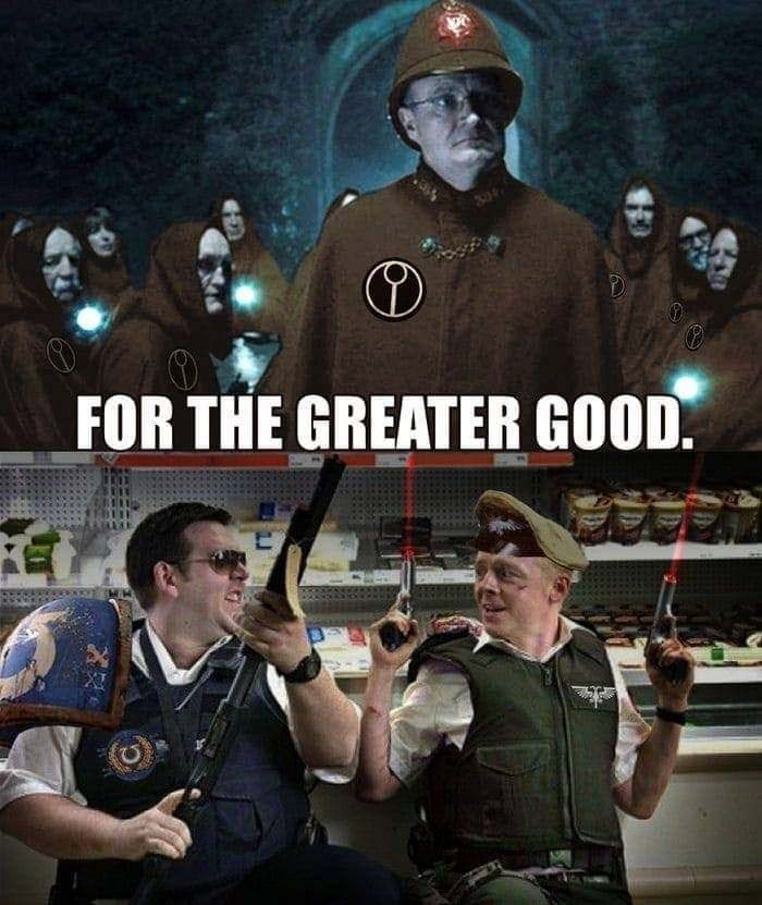 Warhammer 40k meme with scene from Shaun of the Dead