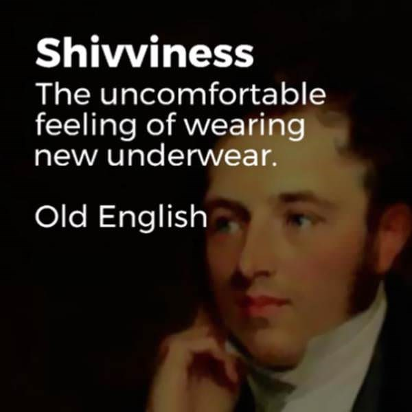 Face - Shivviness The uncomfortable feeling of wearing new underwear. Old English