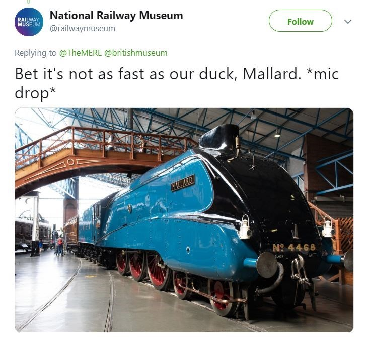 "Tweet from the National Railway Museum with pic of a train called ""Mallard"""