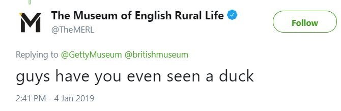 Tweet from the Museum of English Rural Life asking if other museums ever seen ducks