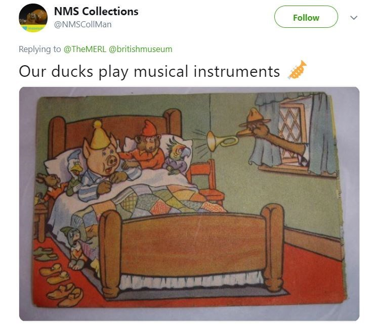 Tweet of children's book illustration of duck playing a trumpet