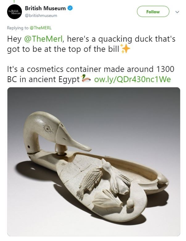 Tweet from the British Museum with pic of a duck statue