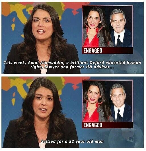 Cecily Strong describing the relationship between George Clooney and Amal Alamuddin