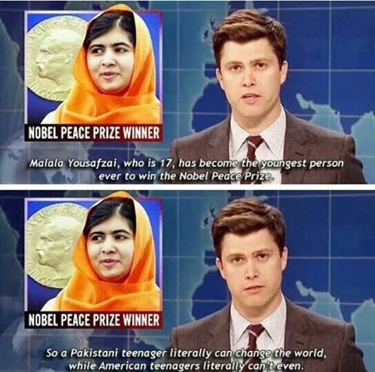 Colin Jost reporting on Malala Yousafzai's accomplishments, comparing American teens to her