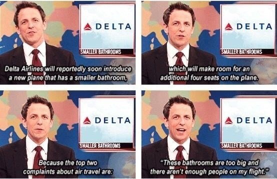 Seth Meyers reporting on a new plane model that introduces worse conditions to its passengers