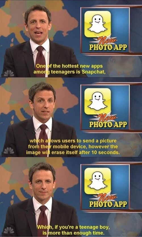 Seth Meyers joking about teenage boys using Snapchat to masturbate