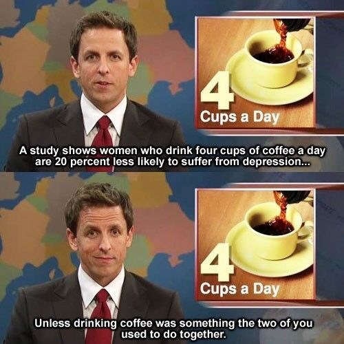Seth Meyers joking about women going into depression after breakups