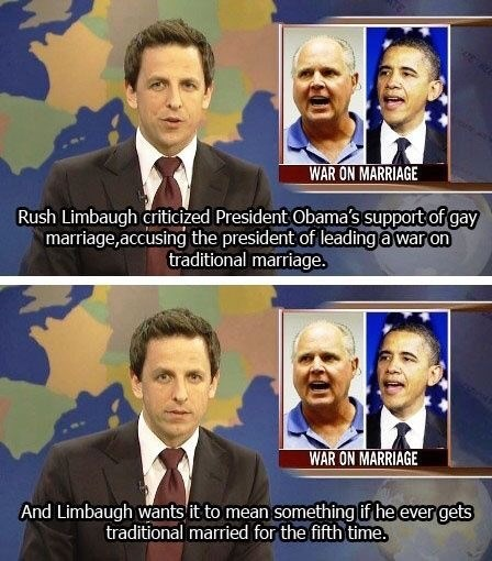 Seth Meyers reporting on Rush Limbaugh protesting gay marriage