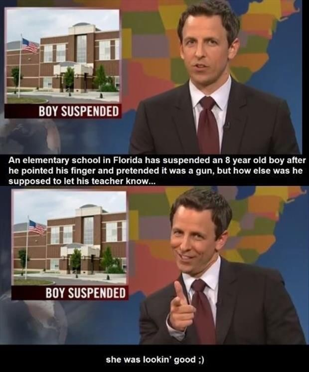 Seth Meyers reporting on a kid getting suspended for doing the finger guns gesture