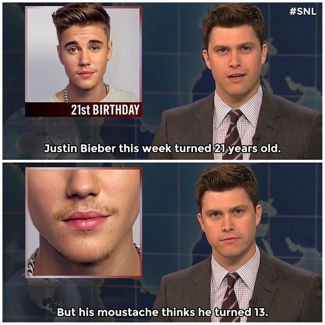 Colin Jost reporting on Justin Bieber's mustache