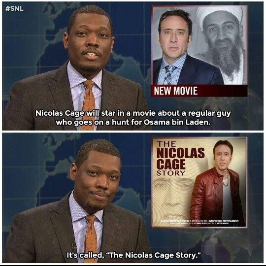 Michael Che reporting on Nicholas Cage starring in a movie about himself