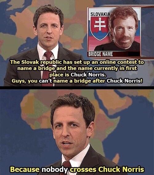 Seth Meyers making a Chuck Norris joke