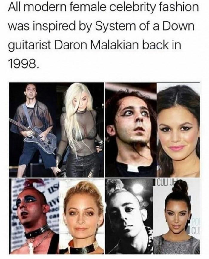 Meme about metal musicians inspiring modern fashion