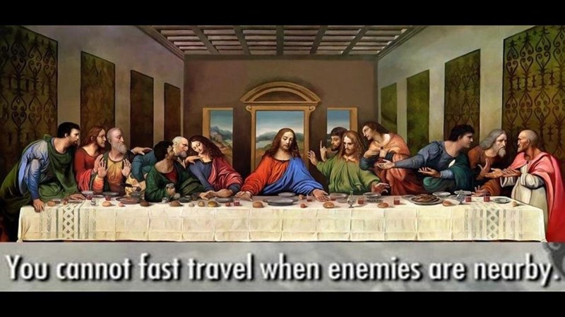 Meme about Skyrim fast travel with pic of Jesus at the last meal
