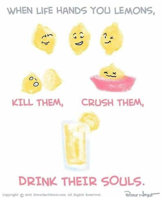 Meme describing making lemonade as a violent act