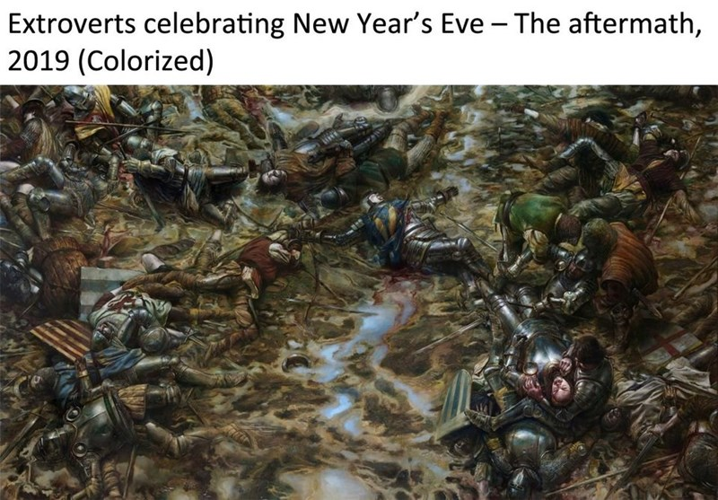 Painting of battlefield filled with corpses presented as the aftermath of a wild party