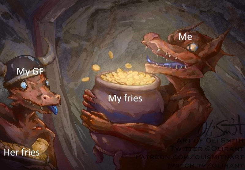 Painting of lizard man appearing jealous of another lizard's pot of gold coin, representing a girlfriend wanting her boyfriend's fries