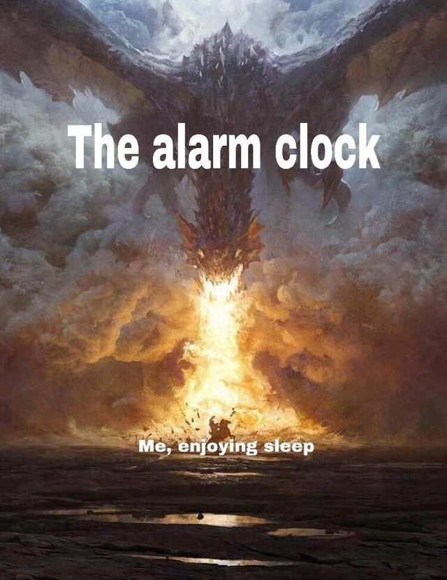 Painting of dragon breathing fire on a warrior, representing the alarm clock disturbing your sleep