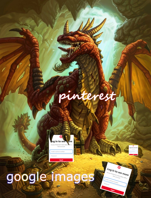Painting of dragon protecting its gold, representing Pinterest not letting you view images without an account