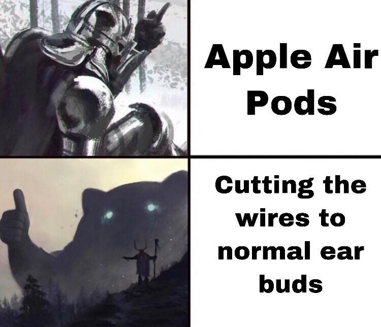 Meme about cutting ear buds wires to make Air Pods with painting of a shaman summoning some cat spirit that gives a thumbs up
