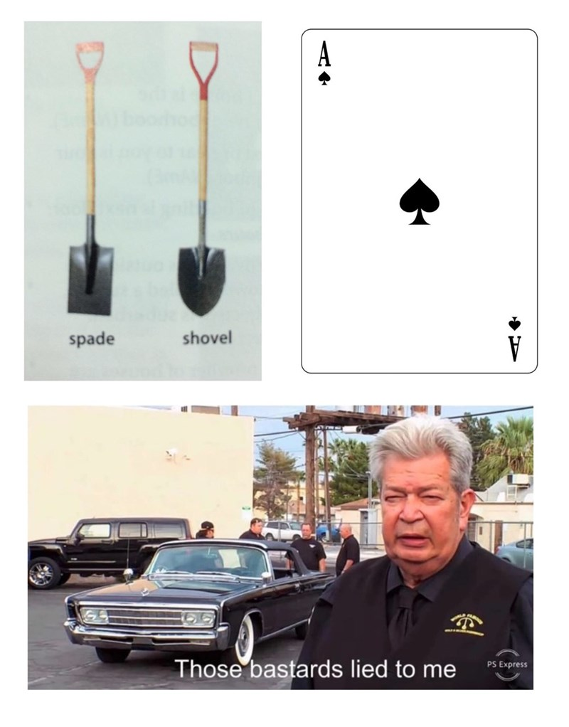 Meme about the spades in a card deck actually being shaped like shovels