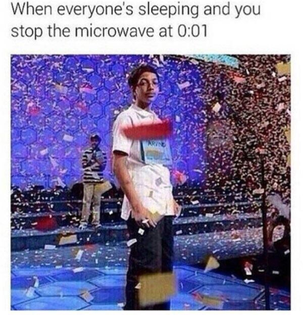 Meme about not making noises at night with pic of boy surrounded by confetti
