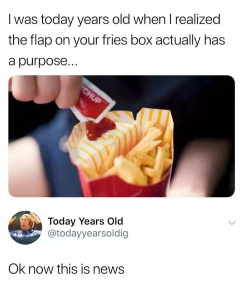 Meme about learning to use the box fries comes in