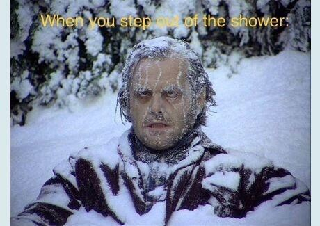 Meme about leaving the shower with pic of Jack frozen to death in The Shining