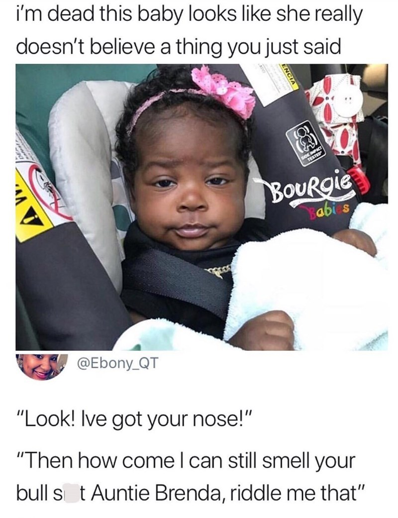 Meme about a baby with a serious facial expression