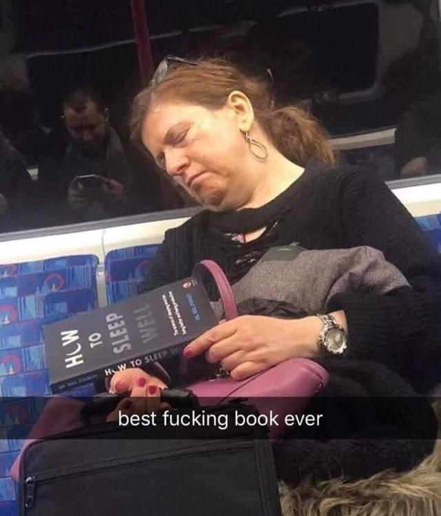 woman sleeping on train dumb but true - Arm - HOW TO SLEEP W Har best fucking book ever