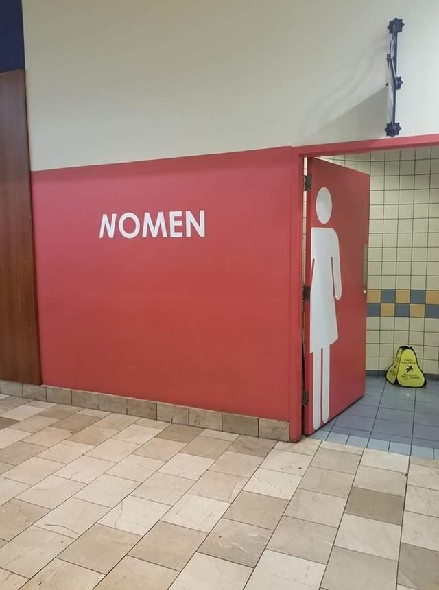 women's toilets red sign says no men dumb but true - Red - NOMEN