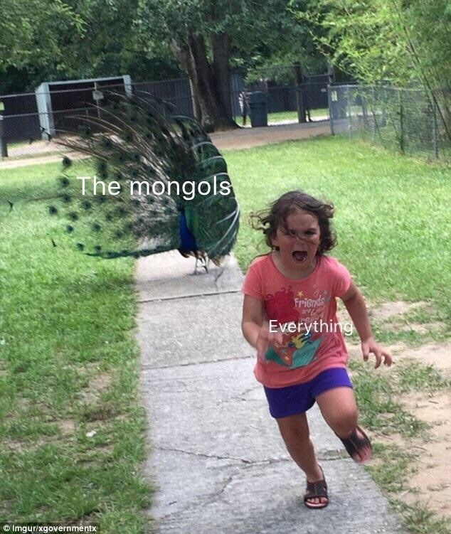 "Object-label meme where a little girl running represents ""everything"" and a peacock chasing her represents ""the Mongols"""