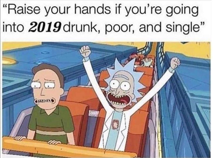 Meme about starting 2019 in a bad state with pic of Rick from Rick and Morty on a roller coaster