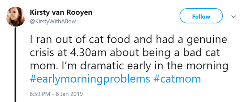 Text - Kirsty van Rooyen @KirstyWithABow Follow I ran out of cat food and had a genuine crisis at 4.30am about being a bad cat mom. I'm dramatic early in the morning #earlymorningproblems #catmom 8:59 PM 8 Jan 2019