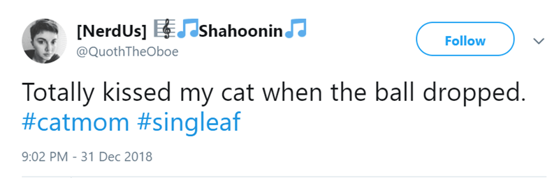 Text - [NerdUs] Shahoonin Follow @QuothTheOboe Totally kissed my cat when the ball dropped. #catmom #singleaf 9:02 PM -31 Dec 2018