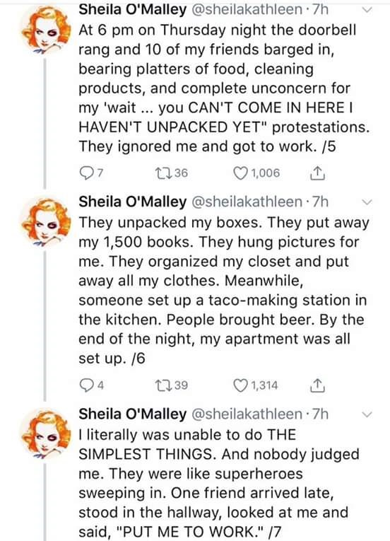 Tweets describing how a group of friends helped a mourning woman unpack and set up her apartment