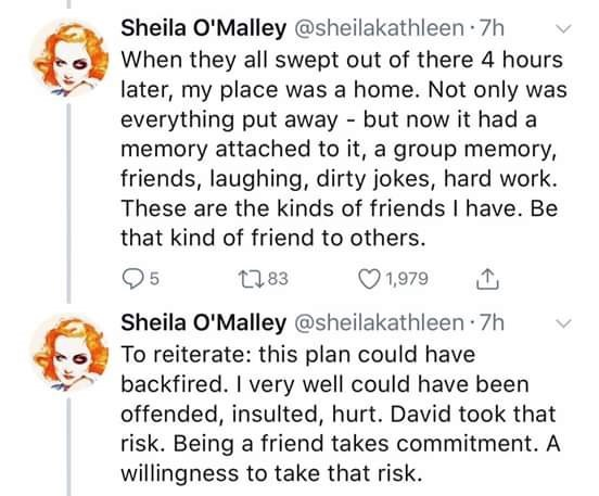 Tweets describing the aftermath of meetup to fix a mourning woman's apartment and how it paid off
