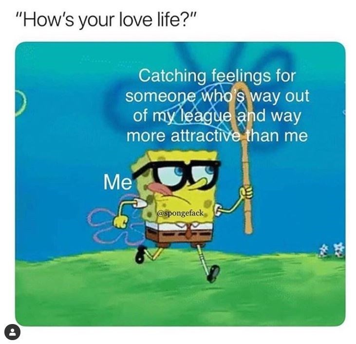Meme about unrealistic love expectations with pic of Spongebob running in a field with a net