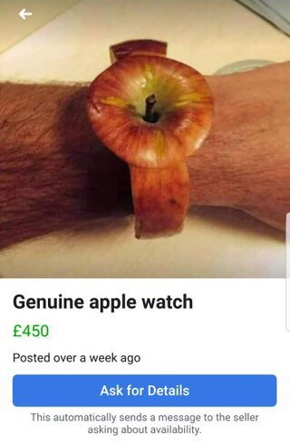 Facebook advertisement for a 'genuine Apple watch' with a pic of a guy wearing a watch made out of an apple